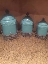 tuscan drake design turquoise canister set with bases for sale in