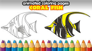 animated coloring pages how to draw cartoon tropical fish