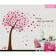 wall decals australia wall art stickers tree nursery baby room pretty tree with flowers around