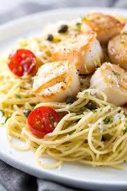 pan seared scallops with lemon caper pasta recipe jessica gavin