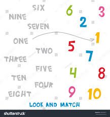 look match numbers 1 10 kids stock vector 474634567 shutterstock