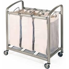 Commercial Laundry Hamper by Seville Classics Mobile 3 Bag Heavy Duty Laundry Hamper Sorter