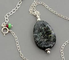 silver wire necklace images Sterling silver wire wrapped dark green jasper jpg