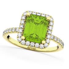 peridot engagement rings emerald cut peridot diamond engagement ring 18k yellow gold 3 32ct