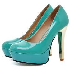 Light Blue High Heels Sale Fashion Waterproof Colorful High Heel Pumps Light Blue