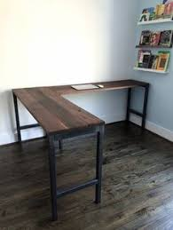 wood l l shaped desk reclaimed wood desk industrial by guicewoodworks