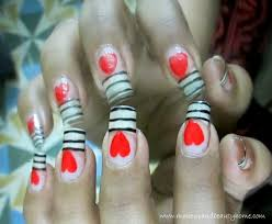 easy stripes and heart nail art tutorial do it yourself makeup