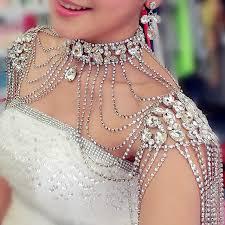 choker necklace wedding vintage images Vintage bridal shoulder necklace chain rhinestone drop necklace jpg