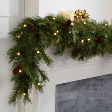 lush 9 cordless pre lit led mixed cedar garland