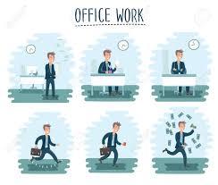 jeux de travail dans un bureau vector illustration du bureau de dessin animé caractère ouvrier de l