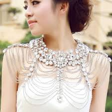 aliexpress collar necklace images Luxury rhinestone necklace chain bridal shoulder necklace chain jpg