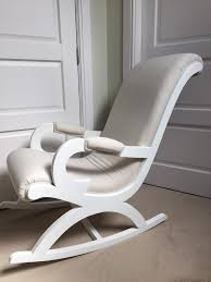 Nursery Wooden Rocking Chair Linen Fabric White Wooden Rocking Chair Chic Shack Nursing