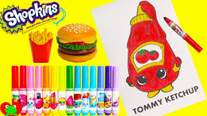 shopkins coloring pages videos shopkins coloring page tommy ketchup with season 6 and happy places