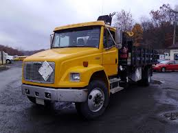 freightliner used trucks 2003 freightliner fl80 single axle flatbed crane truck for sale by