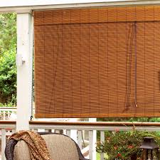 Painted Bamboo Blinds Patio Ideas Roll Up Patio Blind Under Grey Solid Wall Behind