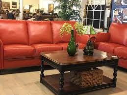 sofa rust orange leather cindy crawford consignment lkn