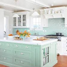 light blue kitchen backsplash beautifully colorful painted kitchen cabinets subway tile