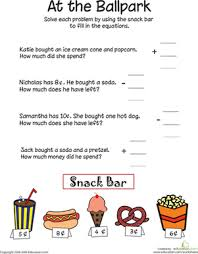 addition and subtraction worksheets for grade at the ballpark addition and subtraction worksheet education