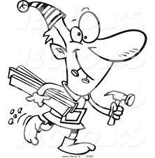 vector of a cartoon christmas elf carrying lumber and a hammer