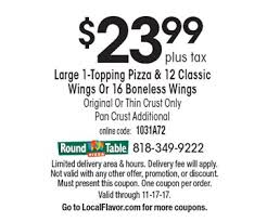 Round Table Pizza Coupons Codes Localflavor Com Round Table Pizza 10 For 20 Worth Of Casual