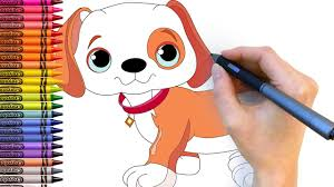 cute puppy how to draw puppy and paint coloring pages with color