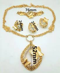 women necklace design images Dubai jewelry set 18k gold bridal jewelry set butterfly flower jpg