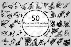 50 ornamental flourishes vector objects creative market