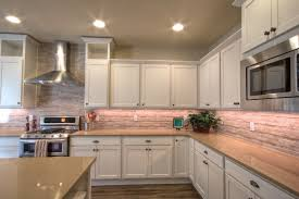 Colorful Kitchen Backsplashes White Kitchen Cabinets With Salmon Color Tile Back Splash And
