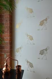 ostrich wallpaper large gold leaf on bone beware the moon