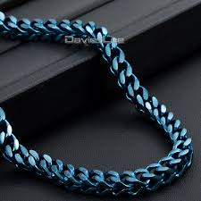blue stainless steel necklace images Davieslee 5mm mens chain foxtail box franco box curb cuban blue jpg