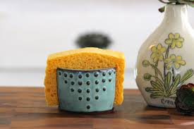 kitchen sponge holder ceramic card holder aqua mist