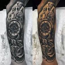 clock rose tattoo on arm new tats pinterest mens rose