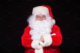 christmas santa claus portrait smiling against black background