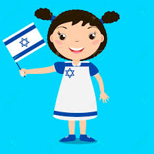 Holding The Flag Smiling Child Holding A Israel Flag Isolated On Blue