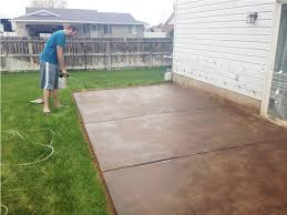 Backyard Concrete Patio Ideas by Stained And Stamped Concrete Patios Diy Stained Concrete Patio