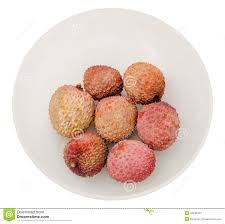 The Lychee Litchi Chinensis Fruits In A Transparent Bowl Close
