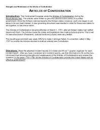 articles of confederation weaknesses worksheet pictures to pin on