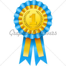 blue and gold ribbon blue ribbon prize gl stock images