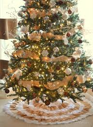 decorating tree with burlap ribbon christmas2017