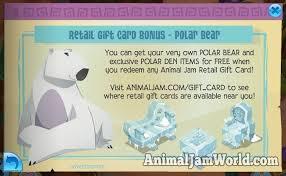 animaljam gift card free polar code with every animal jam gift card animal jam