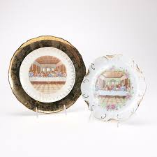 the last supper plates pair of the last supper decorative plates with gold accents ebth