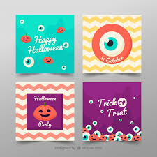 pack of four funny halloween cards vector free download