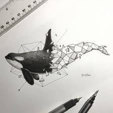 black and white whale with geometric tail tattoo design