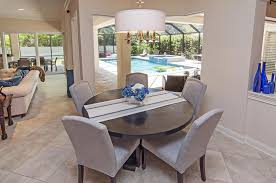 Transitional Dining Rooms Dining Room With Slate Tile Floors U0026 Pendant Light In Ponte Vedra