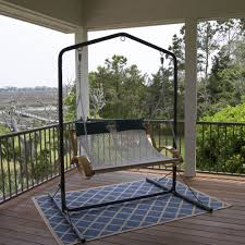 Porch Swing With Stand Pawleys Curved Arm Double Hammock Swing