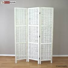 Rattan Room Divider 3 Part Room Divider Wood Wicker Paravent Screen In White Wihtewash