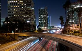 skyscrapers la beautiful timed freeway city lights traffic