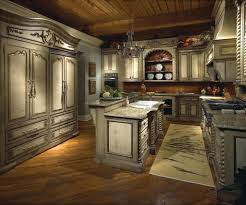 tuscan style decorating with antique cabinet and kitchen island