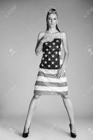 Flag Dress Beautiful Pin Up Style Fashion Model In Dress Made From American