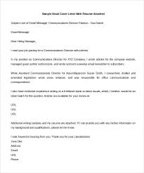 email cover letter example cover cover letter email sample